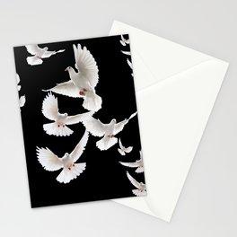 WHITE PEACE DOVES ON BLACK COLOR DESIGN ART Stationery Cards