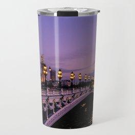 Sunset over Paris Bridge (Color) Travel Mug