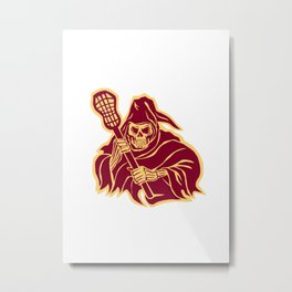 Grim Reaper Lacrosse Defense Pole Retro Metal Print