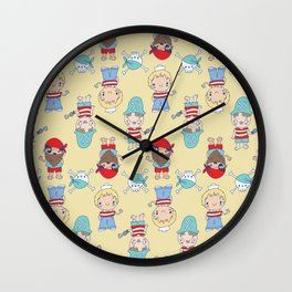 CUTE KIDS PIRATE PARTY Wall Clock