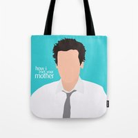 himym Tote Bags featuring Ted Mosby from HIMYM by Rosaura Grant