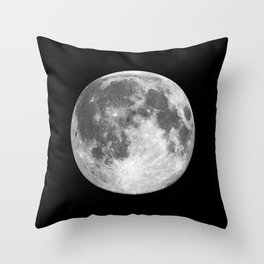 Full Moon print black-white photograph new lunar eclipse poster bedroom home wall decor Throw Pillow
