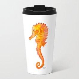 Seahorse Watercolor Painting - Orange Ocean Animal Travel Mug