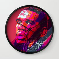 greg guillemin Wall Clocks featuring GREG ODEN MIAMI HEAT by mergedvisible