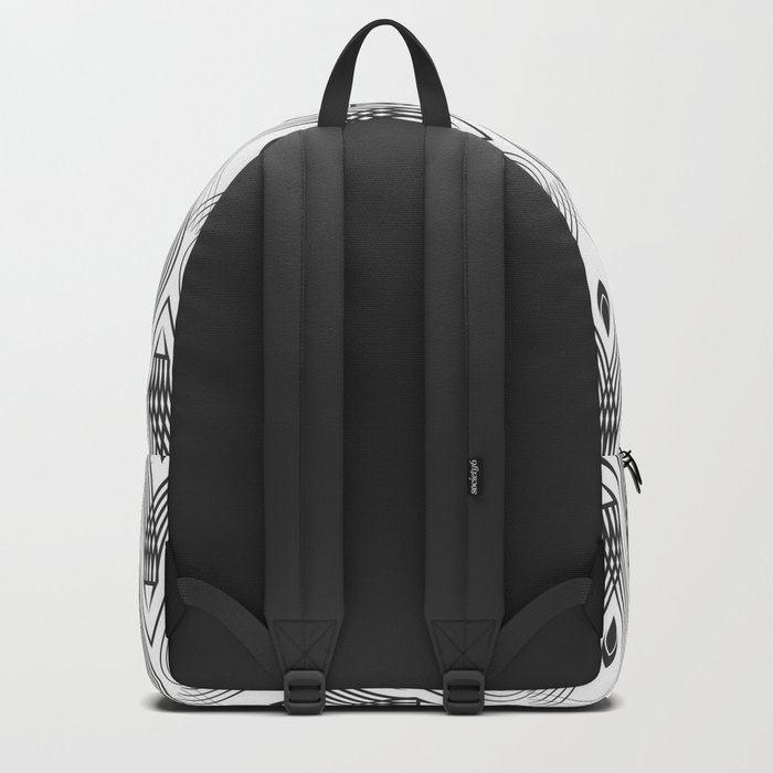 Art Deco 56 . black and gray spiral . Backpack