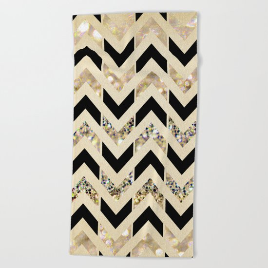 Black & Gold Glitter Herringbone Chevron on Nude Cream Beach Towel