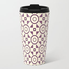 Handdrawn Geometric Pattern Grape on Cream Travel Mug