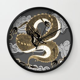 Serpent Dragon Gold and Gray Wall Clock