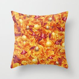 Autumn Leaves and Mushrooms Throw Pillow