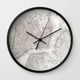 Vintage New York City Map Wall Clock