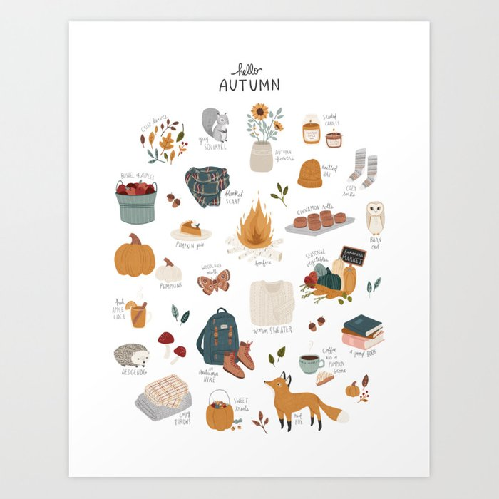 Discover the motif HELLO AUTUMN by Amy Hamilton as a print at TOPPOSTER