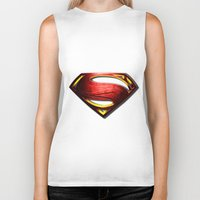man of steel Biker Tanks featuring Man of Steel by bimorecreative