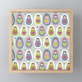 matryoshka with heart Framed Mini Art Print
