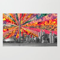 toronto Area & Throw Rugs featuring Blooming Toronto by Bianca Green