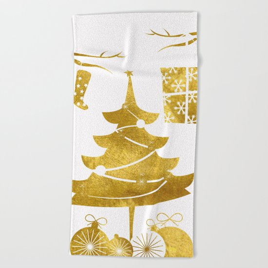 Gold Christmas 03 Beach Towel