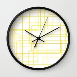 Yellow Line Pattern Wall Clock