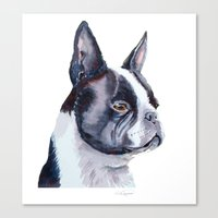 boston terrier Canvas Prints featuring Boston terrier by Doggyshop
