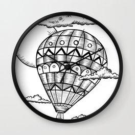 Vintage hot air balloon adventure t-shirt Wall Clock