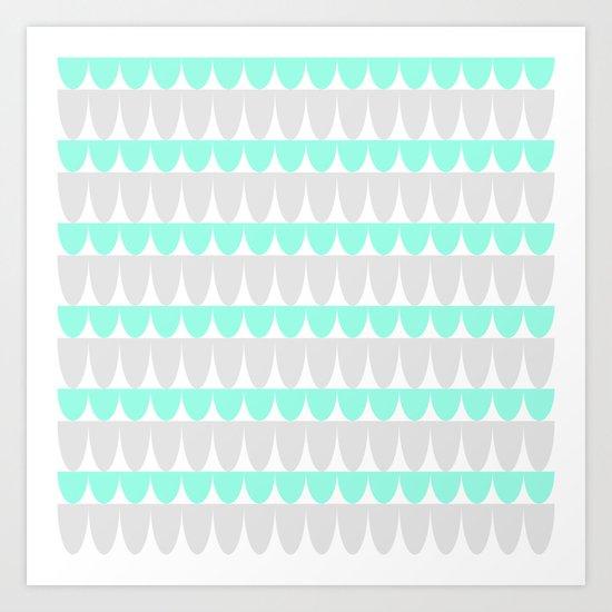Mint & Silver Scallop Art Print