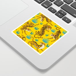 Yellow Tiger Tropical Pattern Sticker