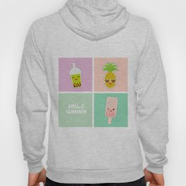 Hello Summer bright tropical card, pineapple, smoothie cup, ice cream, bubble tea. Kawaii cute face. Hoody
