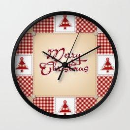 Merry Christmas Quilt Pattern Wall Clock