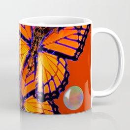 DECORATIVE MONARCH BUTTERFLIES & SOAP BUBBLES  ON TURMERIC  COLOR ART Coffee Mug