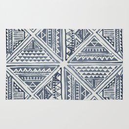 Simply Tribal Tile in Indigo Blue on Lunar Gray Rug