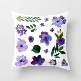 A  Floral Collection of Painted flower. Watercolor Flowers. Floral set. Throw Pillow