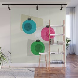 Retro Holiday Baubles Wall Mural