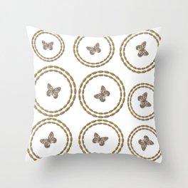 Gold Butterfly Pattern Throw Pillow