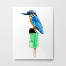 Bird on ice Metal Print