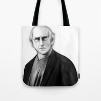 larry david Tote Bags featuring DARK COMEDIANS: Larry David by Zombie Rust