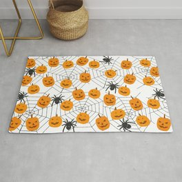 Halloween Pattern Spider Pumpkin Rug
