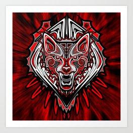 Wolf Tattoo Style Haida Art Art Print