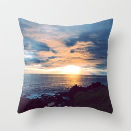South Pacific French Polynesia Tropical Island Romantic Sunset Throw Pillow