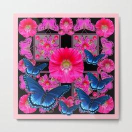 FUCHSIA PINK FLOWERS BLUE BUTTERFLIES ABSTRACT Metal Print