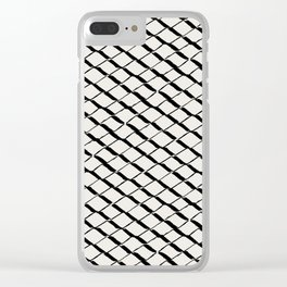 Modern Diamond Lattice 2 Black on Light Gray Clear iPhone Case
