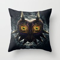 majora Throw Pillows featuring Epic Pure Evil of Majora's Mask by Barrett Biggers