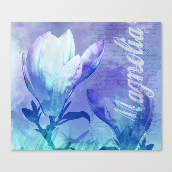 Blue Purple Magnolia mixed media typography illustration Canvas Print