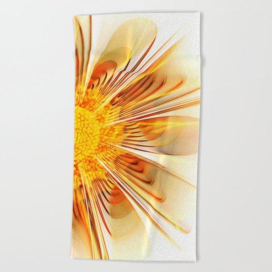 Summer Fractal Flower Beach Towel