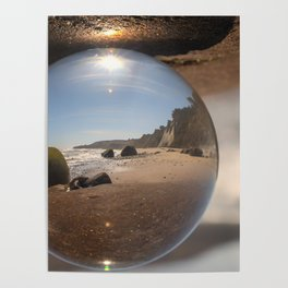 Beach Ball refraction photography with crystal ball Poster