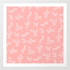 Modern hand drawn geometric aztec cactus pattern on pink Art Print