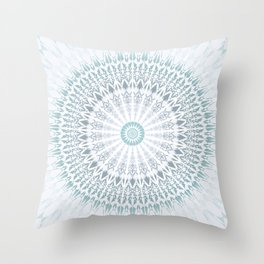 Teal Aqua Mandala Throw Pillow