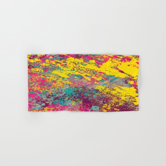 Abstract TexTure Uno - Pink, Purple, Blue And Yellow Hand & Bath Towel