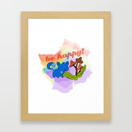 Psilocybin mushrooms cat Framed Art Print