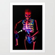 Black Light Skeleton  Art Print