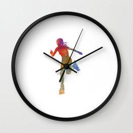 Woman in roller skates 12 in watercolor Wall Clock