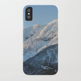 Snow on the mountains. iPhone Case