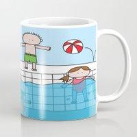pool Mugs featuring Pool by oekie